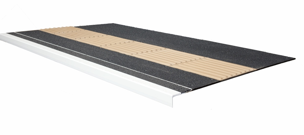 Pro Tred nosing and MIF ACME overlay panel landing with tactile insert